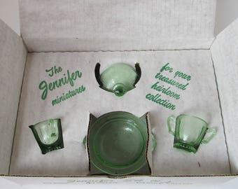 MOSSER GLASS Jennifer Set #1 - Green - MIB