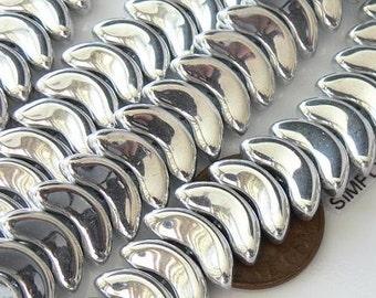 Silver Wings Czech Glass Glass Beads 15mm 12 Angel Wings