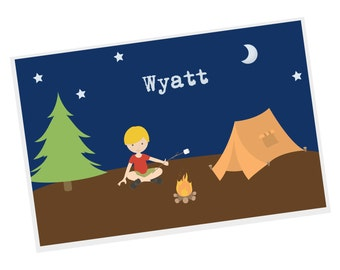 Camper Personalized Placemat - Camper Boy Night Sky Camping with Name, Customized Laminated Placemat