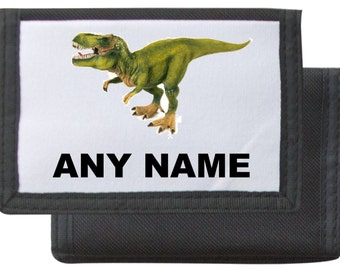 Personalised Dinosaur Wallet Available In Black/Pink/Blue/Red