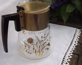 Coffee Pot, Floral Coffee Carafe, Mid Century Modern, Large Gold Beaker, 6 Cup Serving Pitcher with Gold Wheat and Flowers