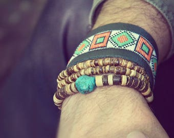 Leather men's bracelet native american inspired ethnic tribal hippie bohemian