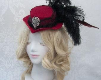 Steampunk Mini Top Hat   Maroon Magic  Tea Party Hat, Steampunk Cosplay, Designer Hat, Steampunk Costume, Cocktail Hat