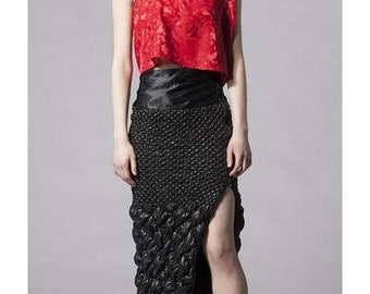 Quilted Slit Maxi Skirt