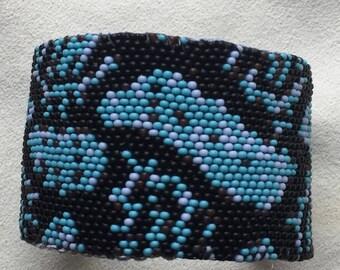 Handmade Beaded Snakeskin Cuff
