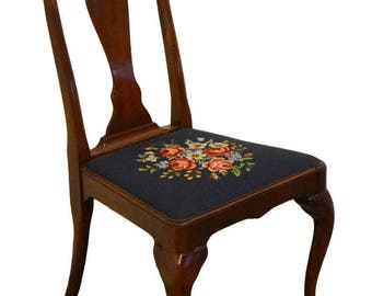 1940's Antique Queen Anne Style Dining Side Chair w/ Needlepoint Seat
