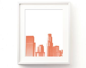 Los Angeles print, coral print, LA skyline print, instant download, printable file, orange, California home decor, DTLA artwork, dorm decor