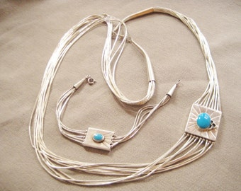 Southwest Style Sterling Silver & Turquoise Multi-Strand Necklace and Bracelet Set..Signed SDR