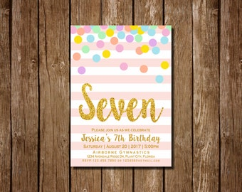 Girl 7th Birthday Invitation, Pink and Gold Seventh Birthday Invitation, 7th Birthday , Pink Invitation, Gold Invitation, Rainbow