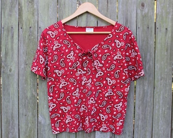 90s Loose Fit Red Bandana Tee | Vintage Tee | Tie Front | Keyhole | Grunge | Southwest | Western | S/M