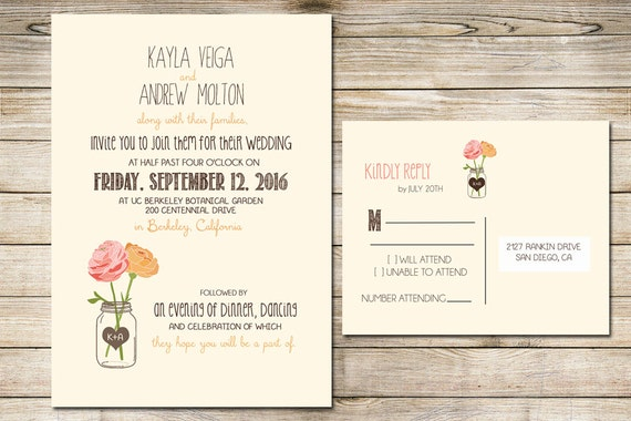 Cheap Wedding Invitations Packages: Wedding Invitation Printable With Flowers And Mason Jar