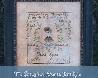 JANE EYRE - official printed cross stitch pattern, The Snowflower Diaries, primitive, embroidery, sampler, broderie