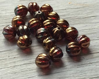 Czech Glass Melon Beads - ruby bronze 8mm pack of 20
