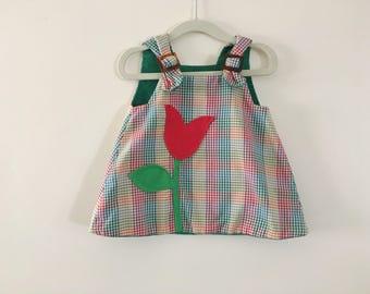 Vintage Reversible Baby Dress Tulip / Stick Pony - Size