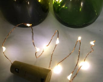 Wine Stopper Lights.  Copper or Silver wire, 10 Fairy Lights, Warm White LEDs, Wedding Decorations, Party Decor, Event Decor, Home Decor