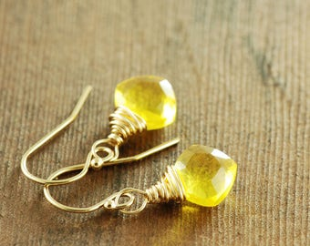 Delicate Sunshine Yellow Quartz Earrings in 14k Gold Fill, Lemon Drop Cushion Cut Gemstone Earrings