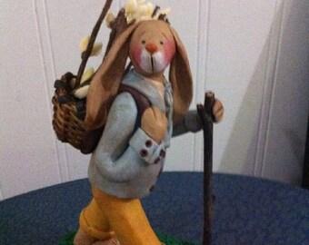 "hand sculpted polymer clay ""Hiking"" boy rabbit figurine"