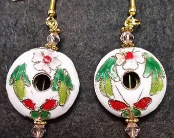 White cloisonne earrings with flowers and butterflies