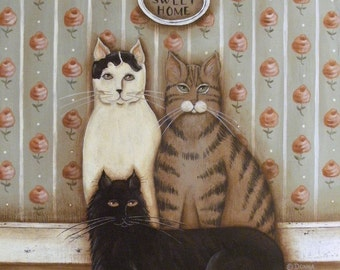 Folk Art Cats Portrait, Home Sweet Home, a cottage KITTY Family print by Donna Atkins white black cat tiger