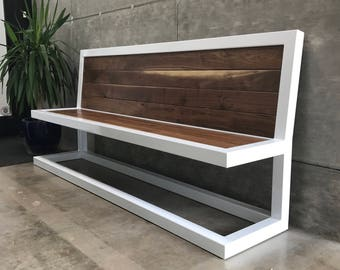 ON SALE Modern Walnut Bench (contemporary) (white) (seating)
