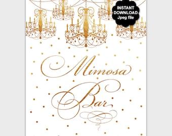 Gold Mimosa Bar Sign, Printable Mimosa Bar Table Sign, Bubbly Bar Sign, DIY Elegant Birthday Decor, Shower Mimosa Bar, Instant Download PP8