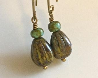 Olive Green Glass Earrings   Bohemian Earrings   Czech Glass