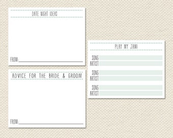 Printable 4x3 Wedding Card Set: Bride & Groom Advice, Song Request, Date Night Ideas PDF Instant Download