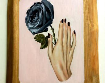 Black Magic - Oil Painting on wood panel Lowbrow Pop Art hand & black rose victoriana