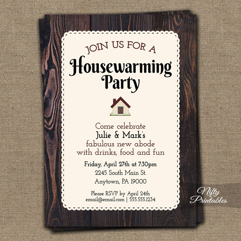 Housewarming Invitations Printable Brown Wood Rustic House