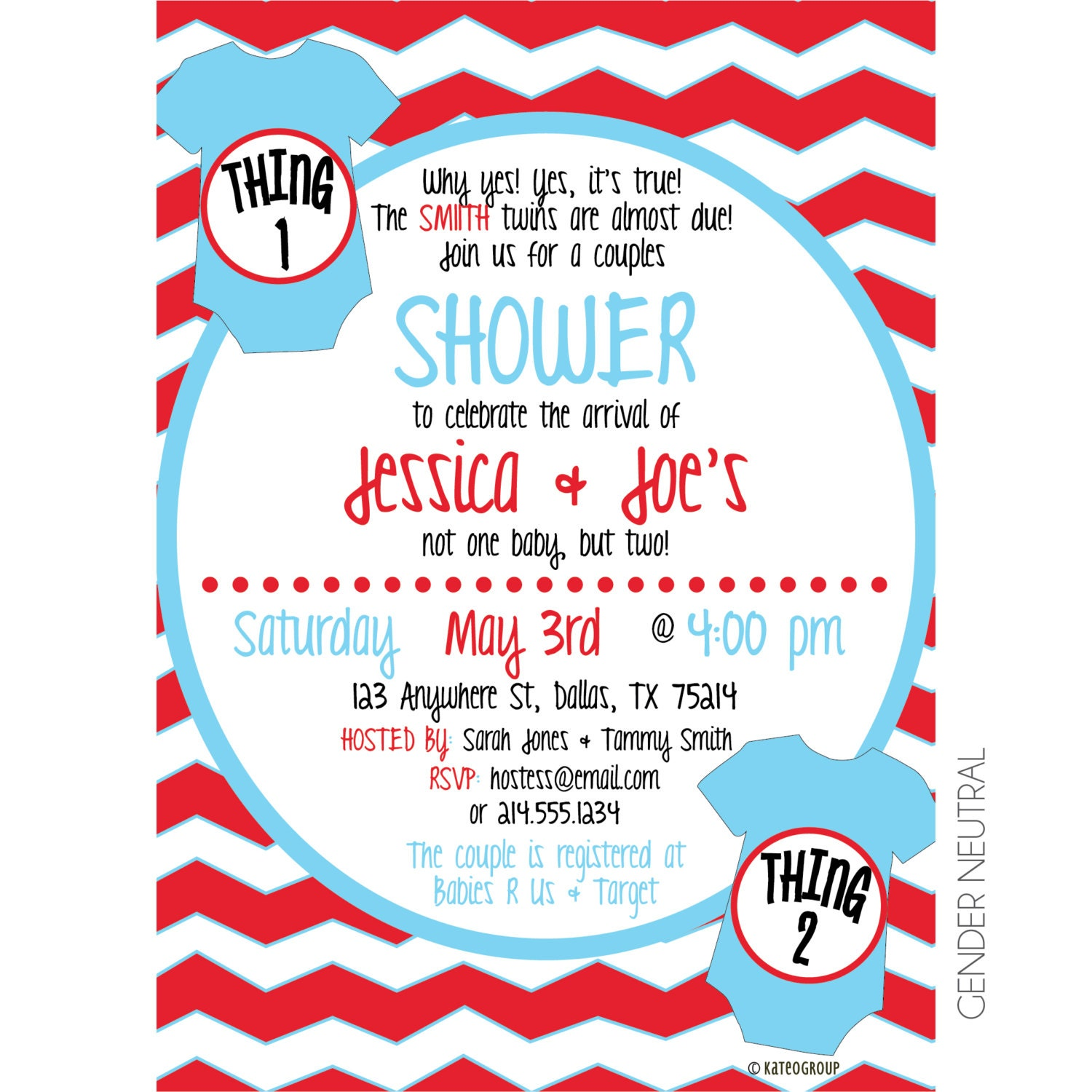 Thing 1 Thing 2 Twin Baby Shower Printable Invitation
