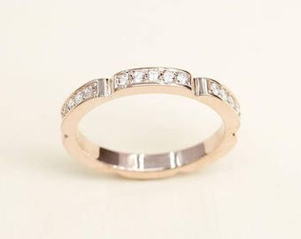 2.4mm Rose Gold Wedding Band, 0.26ct. Diamond Art Deco Style Geometrical Diamond Band, Diamond Ring, 15 Round Cut Diamond Wedding Ring