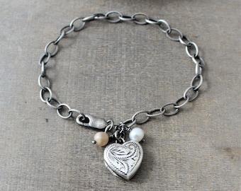 Sterling Silver Locket Bracelet, Heart Locket Bracelet, Oxidized Silver, Pearl Bracelet, June Birthstone Bracelet, Push Gift, Chunky Chain