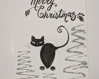 Handmade Christmas holiday card wishes - black cat