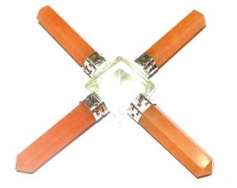 On Hot Sale !!! Crystal Pyramid Orange Aventurine 4 Point Energy Generator