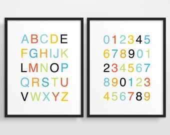 Colorful Nursery Decor, Kids Wall Art, Nursery Print, Helvetica Alphabet Poster, Counting Poster, Set of 2