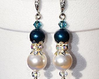 Pearl Bridal Jewelry 609ER. Teal & White Pearl Earrings. Rhodium Bridal Earrings. Dark Teal Blue Pearl Earrings. Wedding Jewelry Bridesmaid
