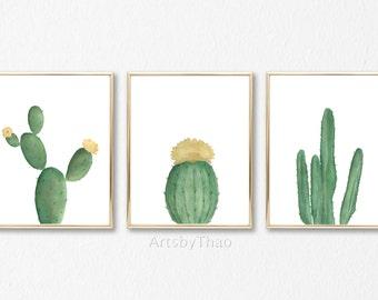 Set of 3 Watercolor Cacti Prints 8x10 or 11x14 Unframed Illustration Nursery decor Cactus Home decor Cactus Wall decor Cactus Art Print gift
