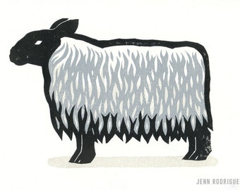 "Hand-pulled Linocut - ""Sheep"""