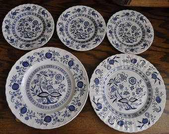 Meakin, J&G Blue Nordic dinner and dessert plates - Blue onion and swirl design and Wedgwood dinner plate in Blue Herritage pattern.