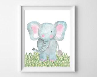 Nursery Decor, Nursery Wall Art, Woodland Nursery, Baby Shower Gift, Nursery Art, Woodland Animals, Instant Download, Wall Art, Elephant