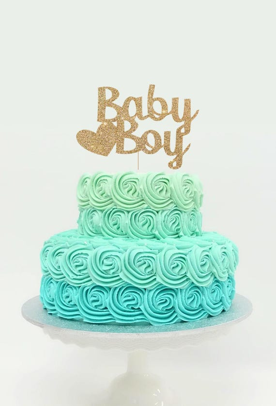 Baby Boy Cake Topper for Baby Shower Gender Reveal Party