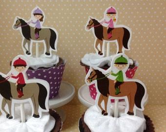 Horseback Riding, Equestrian Cupcake Topper Decorations