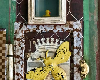 Assemblage Art, Mixed Media Assemblage, Assemble Artist, Yellow Duckie, Bees, Shadow Box