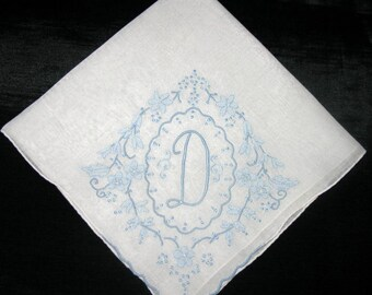 Initial A Handkerchief Embroidered Wedding Handkerchief Monogrammed Hankie BLUE Bride Handkerchiefs Initial M B G D J E F P A or L
