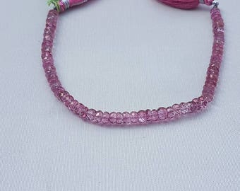 "Pink color coated Topaz rondelle facetted 8"" 6mm"