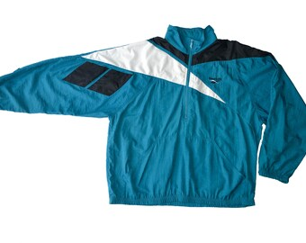 Vintage Reebok Big Logo Patch Color Block Hooded Windbreaker Sport Running Jacket Teal Blue White Size XL