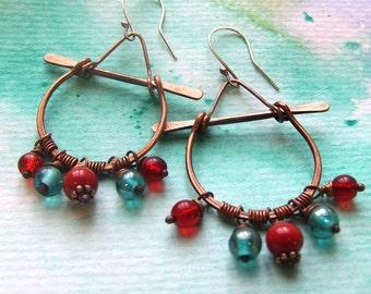 Tibetan Copper & Glass Earrings