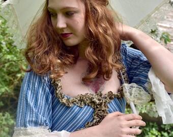 Light blue striped Rococo dress with cream-colored petticoat