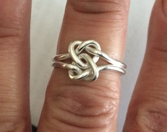 Double heart love knot ring, argentium sterling silver, lovers knot ring,