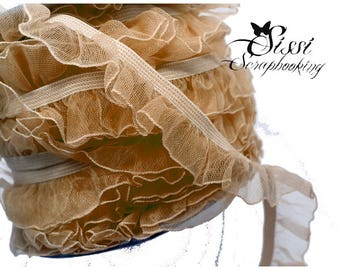 1 m Ribbon Trim Beige gas ruffle lace elastic ruffled seam 19mm